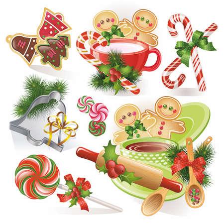 lebkuchen: Weihnachten Lebkuchen Bonbons und Kekse Illustration