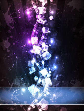 distant: Abstract illustration of neon cubes horizon perspective view