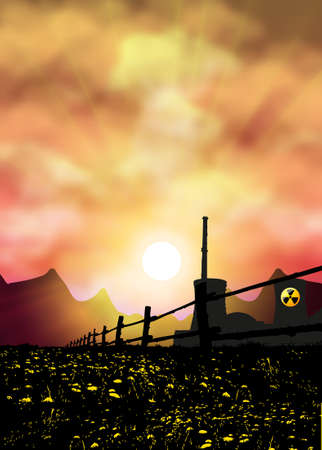 Nuclear danger sunset with place for text photo