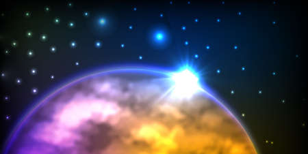 planet with sunrise on the background of stars Stock Photo - 9475065