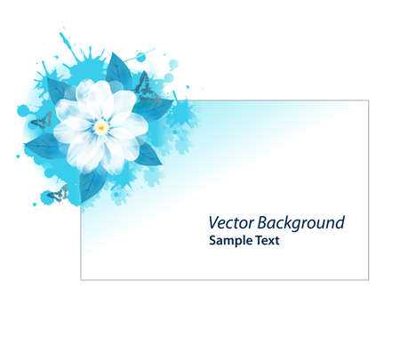 Grunge blue flower card with place for text Vector