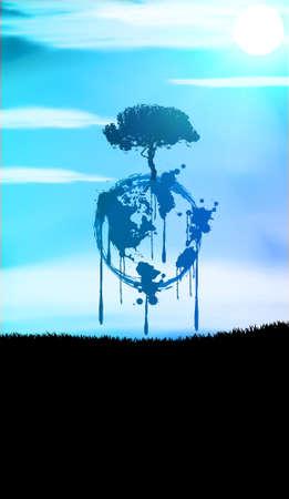 pollution art: Welt Illustration