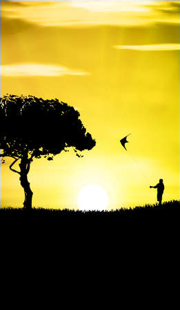 man with a kite in sunset Vector
