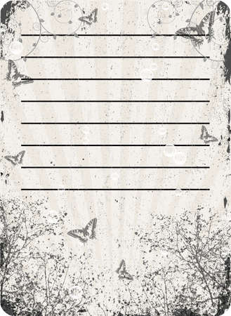 grungy old textured paper with tree and butterflies