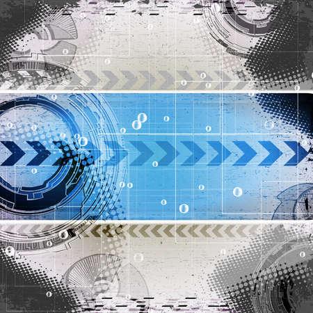 abstracte blauwe grunge technologie achtergrond met plaats voor tekst Vector Illustratie