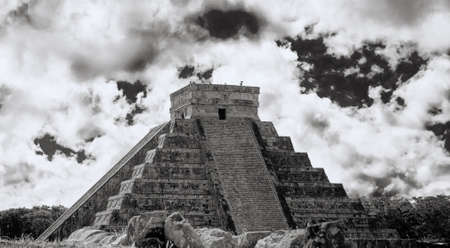 kukulkan: Chichen Itza ,the main pyramid El Castillo,Located in the Yucatan Peninsula of Mexico