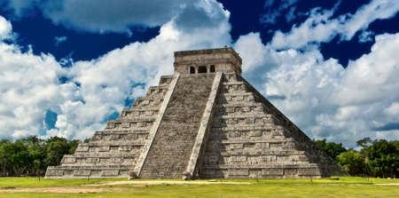 chichen itza: Chichen Itza,the main pyramid El Castillo,Located in the Yucatan Peninsula of Mexico Stock Photo