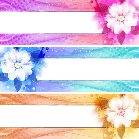 Flower Banner with waves and lights