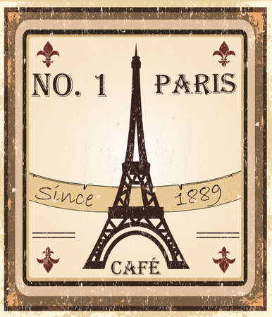 Grungy parisian coffee background. Stock Vector - 9929281