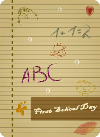 First Day of Schoool (English) Vector