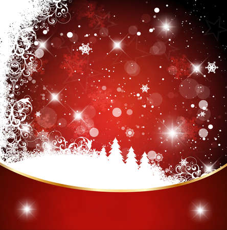 Red christmas background with christmas tree eps Stock Vector - 10127414