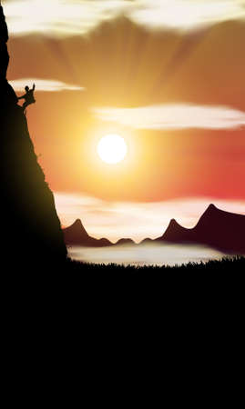 climbing on the rock on sunset background Vector