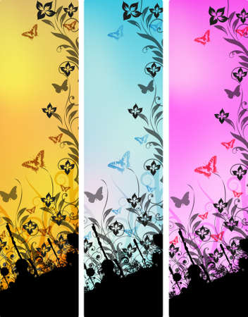 Vector decorative butterfly black grunge Vector