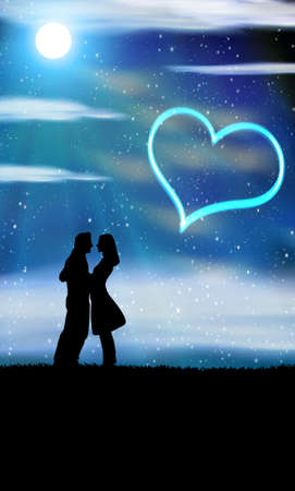 night dress: bride and bridegroom in wedding night on the sky background with night