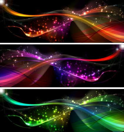 desing: neon wave vector background Set for desing Illustration