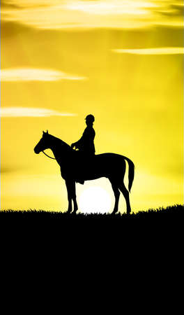 horseback riding: Illustration of woman riding horse at sunset
