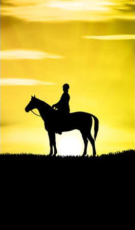 Ilustración de mujer montando a caballo al atardecer