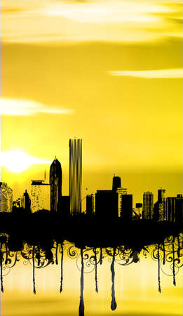 City with sunset and grunge Vector