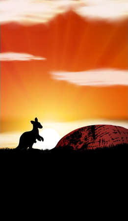 Australia sunset with kangaroo EPS Vector