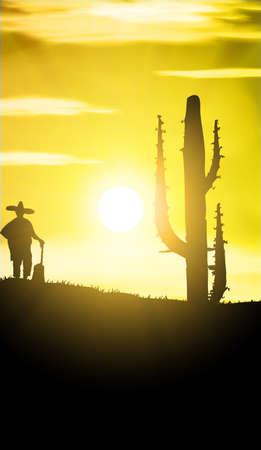sombrero de charro: Puesta de sol de M�xico con mariachi Vector
