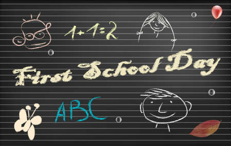 writing pad: Fist school day paper with place for text
