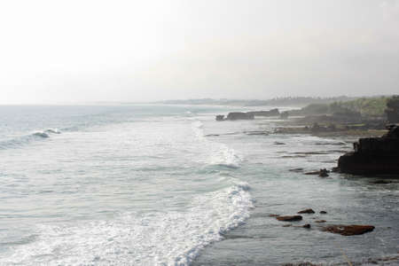 rise to the top: Strong Waves At Tanah Lot, Bali indonesia Stock Photo