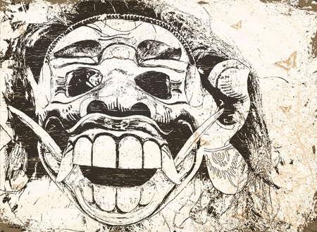 visage peint: balinais rouges mal masque dans un magasin