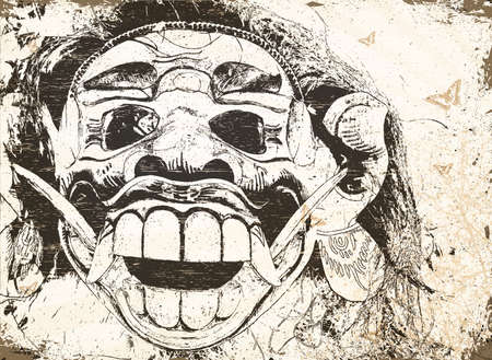 balinese red evil mask in a shop Illustration