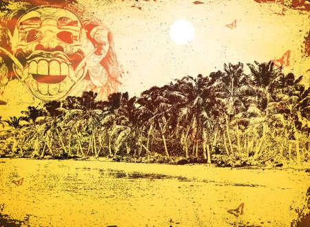 lombok: Summertime at the beach -bali vector background Illustration
