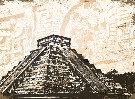 aztec art: Antique Mayan Pyramid Chichen Itza in Mexico