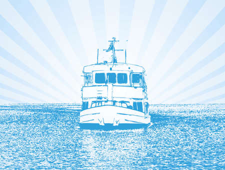 ferries: Vector illustration of a ship in blue