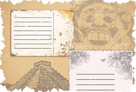 bali: vector grunge background set with travel cards