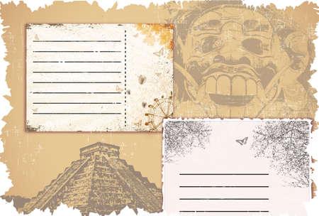 stempel reisepass: Vektor-Grunge-Hintergrund-Set mit Fahrkarten Illustration