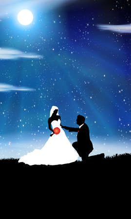 Wedding background -man and woman in the night Vector