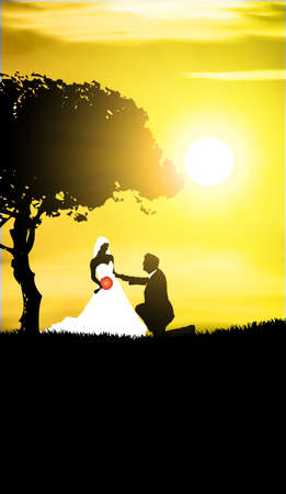 Wedding background -man and woman in the evening Illustration