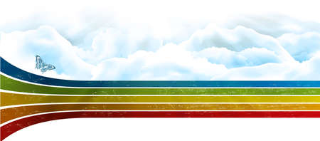 rainbow sky with clouds banner background