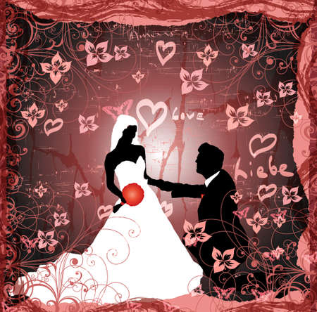 Wedding background -man and woman on grunge background Vector