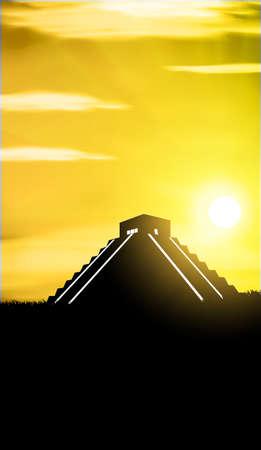 파멸: 치첸이 트사 메인 피라미드 엘 카 스틸로는 Kukulcan 사원이라고합니다. 일러스트
