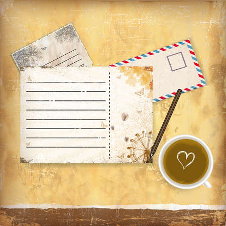Vintage background with old paper, letters and coffe