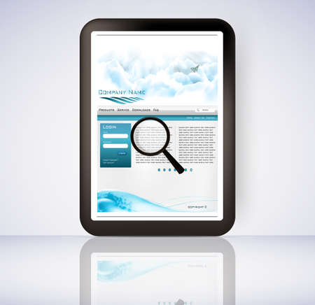 3d illustration of a magnifying glass hovering over a computer display showing a file folder Stock Vector - 11889180