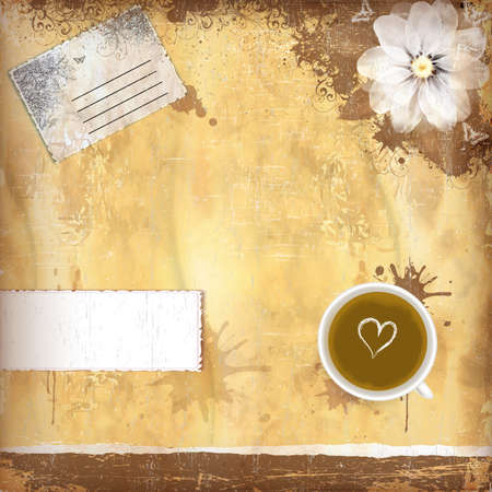 scrap heap: Vintage background with old paper and coffee