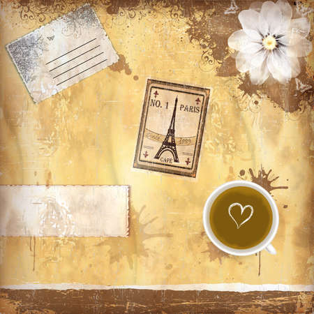 Grungy parisian coffee background. Graphics are grouped and in several layers for easy editing. The file can be scaled to any size.