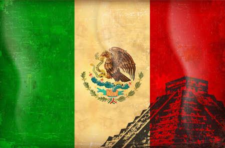 drapeau mexicain: Drapeau grunge Vieux du Mexique vecteur de fond Illustration