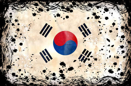 Grunge flag series of all sovereign countries - South Korea Vector