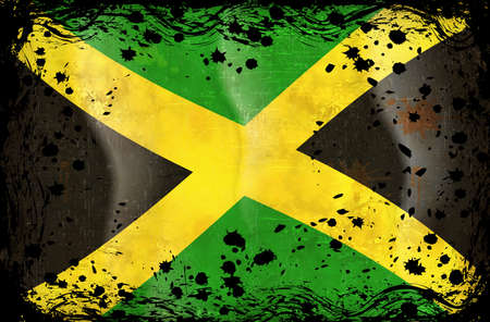 Grunge flag series of all sovereign countries - Jamaica Vector