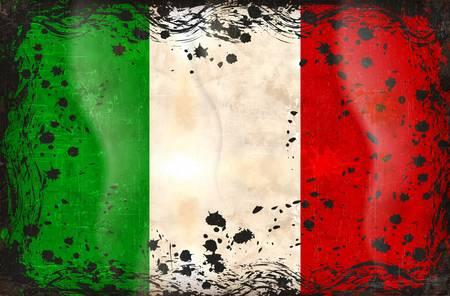 cultura italiana: Grunge serie bandiera di tutti i paesi sovrani - Italia Vettoriali