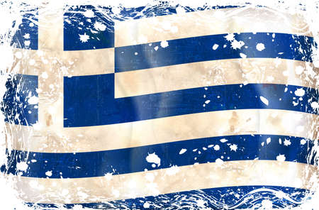Grunge flag series of all sovereign countries - Greek Vector