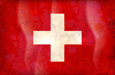 swiss insignia: Old grunge flag of swtzerland background vector Illustration
