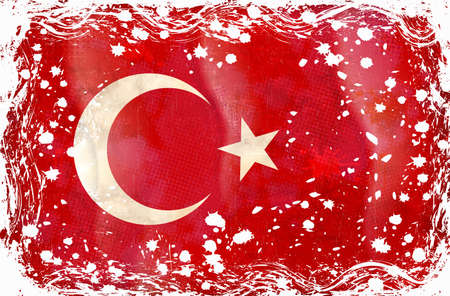 Old grunge flag of Turkey background vector Stock Vector - 12492659