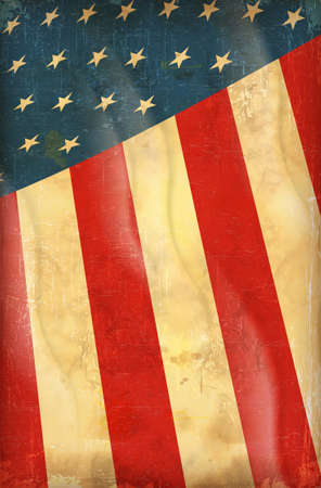 fourth of july: Old grunge flag of usa background vector
